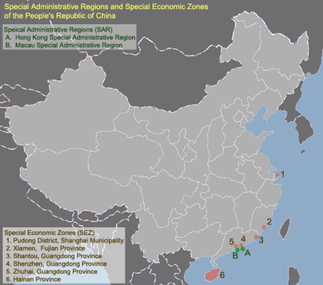 Zonas económicas especiales de China. Fuente: Wikimedia
