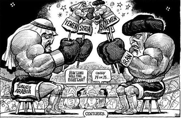 La rivalidad entre Arabia Saudí e Irán que se esparce por todo Oriente Próximo no se basa en diferencias religiosas surgidas tras la muerte de Mahoma, sino en intereses regionales opuestos. Fuente: Kal (The Economist)