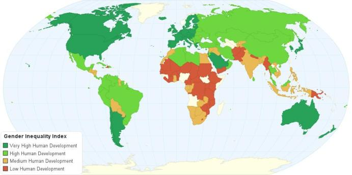 Índice de desigualdad de género en el mundo. Fuente: PNUD