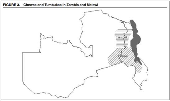 Tumbukas y chewas fueron repartidos entre el este de Zambia y el oeste de Malaui. Este aislamiento geográfico supondría un desarrollo sociopolítico distinto en cada región. Fuente: American Political Science Review
