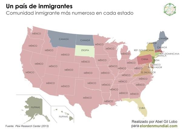 Origen de la principal comunidad inmigrante por estado.
