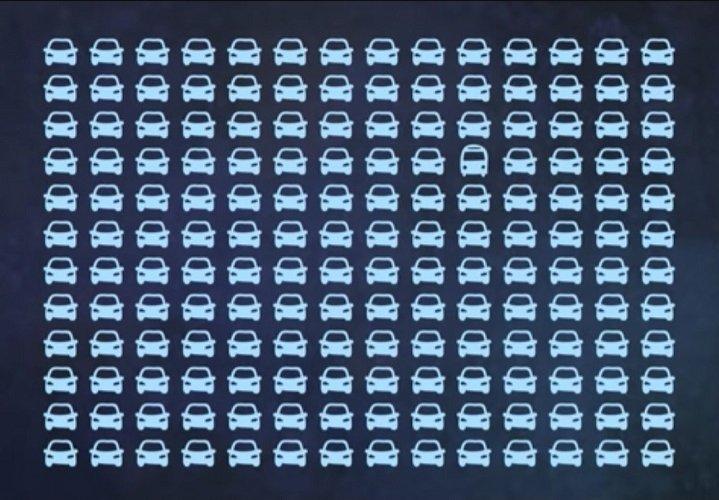Sfida: riesci a trovare l'autobus tra le auto nella foto in soli 3 secondi? Il 99% fallisce