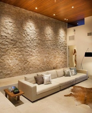 16 Amazing Living Room With Stone Wall Design Ideas 03