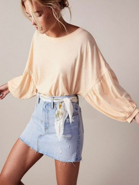 18 Elegant Denim Skirts Outfits Ideas 06