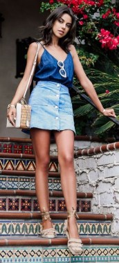 18 Elegant Denim Skirts Outfits Ideas 09