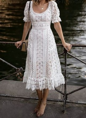 18 Attractive Lace Shift Dress Outfit Ideas For Spring 05