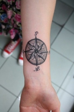 26 Amazing Compass Tattoo Design For Men 29
