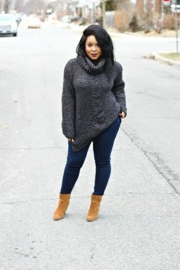 26 Awesome Dark Colour Outfit Ideas For Curvy Women 24