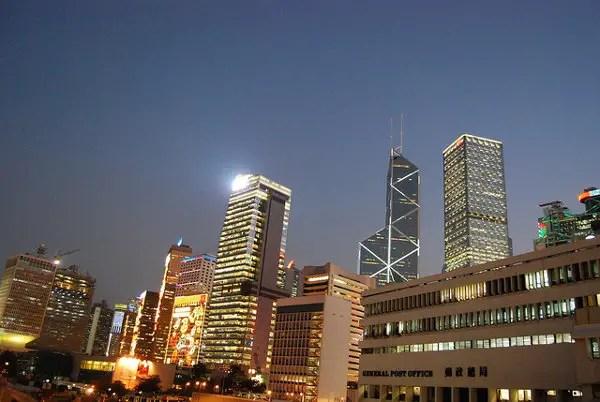 Atardecer sobre el Bank of China Tower