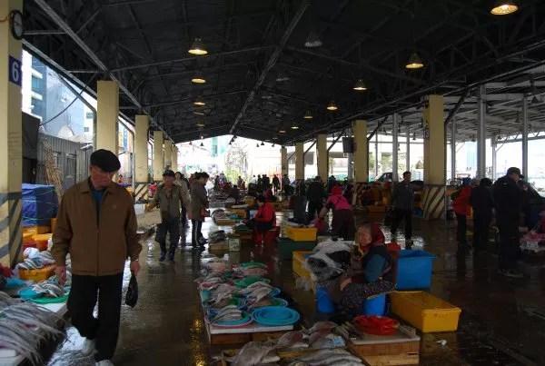 Comprando pescado en el Mercado de pescado Jagalchi de Busan