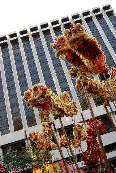 Danza del León y del Dragón en Hong Kong
