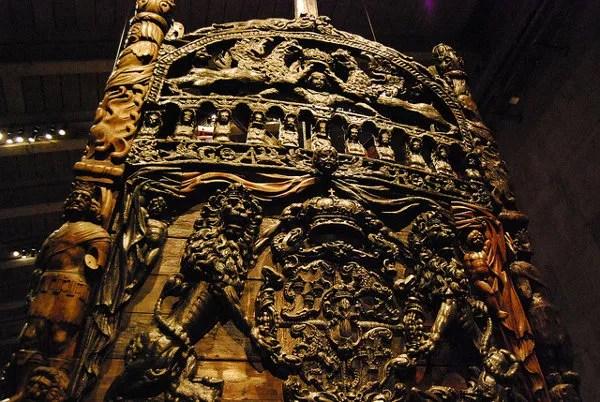 Detalle de la popa del buque Vasa