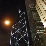 El Bank of China Tower iluminado