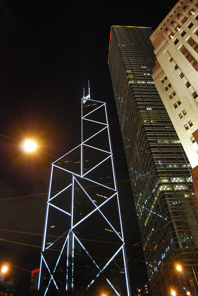 El Bank of China Tower iluminado