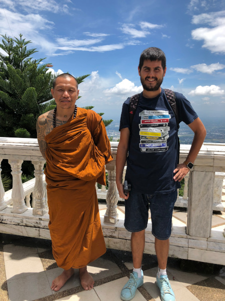 Fotos de Chiang Mai en Tailandia, Pau y monje en Doi Suthep