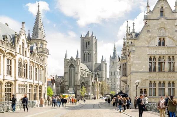 Fotos de Gante en Flandes, vista desde el puente de San Miguel