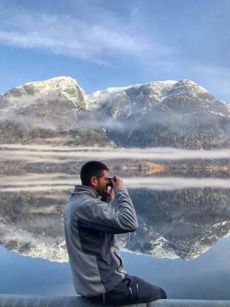 Fotos de Hardanger en Noruega, Pau en el lago de la carretera