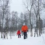 Fotos de Myrkdalen en Noruega, Pau y Luca con raquetas de nieve