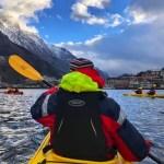 Fotos de Odda en Noruega, Pau en kayak por el fiordo