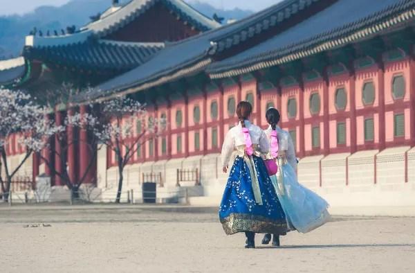 Fotos de Seúl en Corea, Palacio Gyeongbokgung coreanas vestidos tradicionales