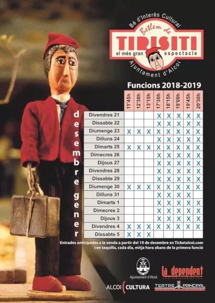 Horarios Betlem de Tirisiti 2018-2019