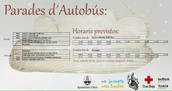 Horarios de aurtobuses para visitar el campamento real de Alcoy