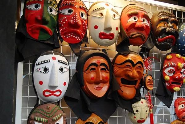 Máscaras coreanas en Insa-dong
