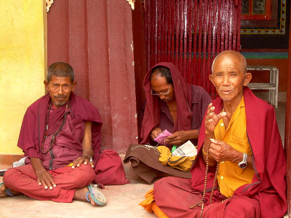 Monjes tibetanos en Bodnath, Katmandú