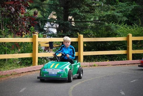 Niño islandés con un mini-cart en el zoo de Reikiavik