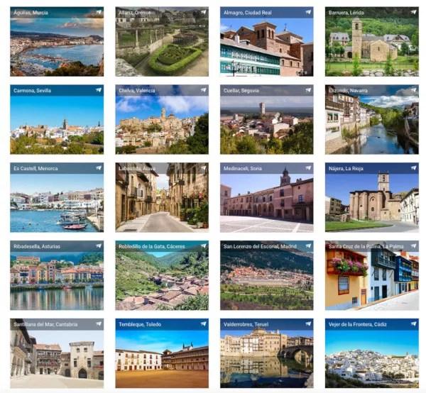 Pueblos participantes en las 7 Maravillas Rurales de España de HomeAway
