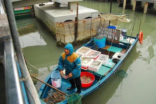 Vendiendo pescado en Tai O