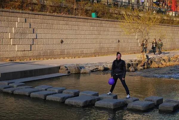 Vero en el arroyo Cheonggyecheon de Seúl