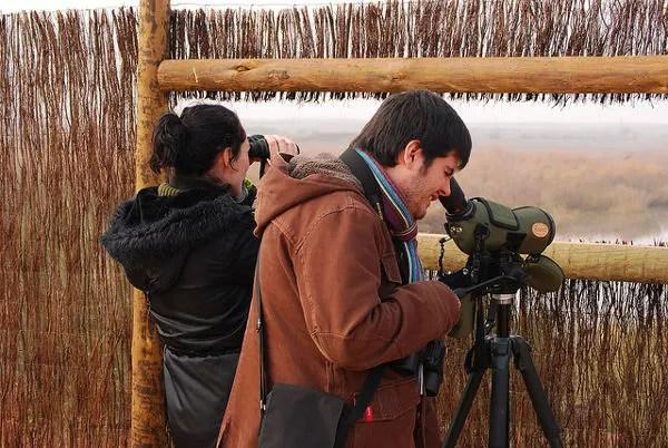 Vero y Pau observando aves en los humedales manchegos