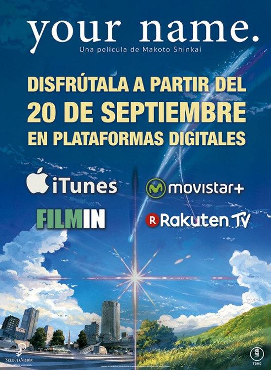 your name en plataformas digitales cartel - el palomitron