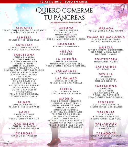 Fecha de estreno de Quiero comerme tu páncreas en España lista de cines - El Palomitrón