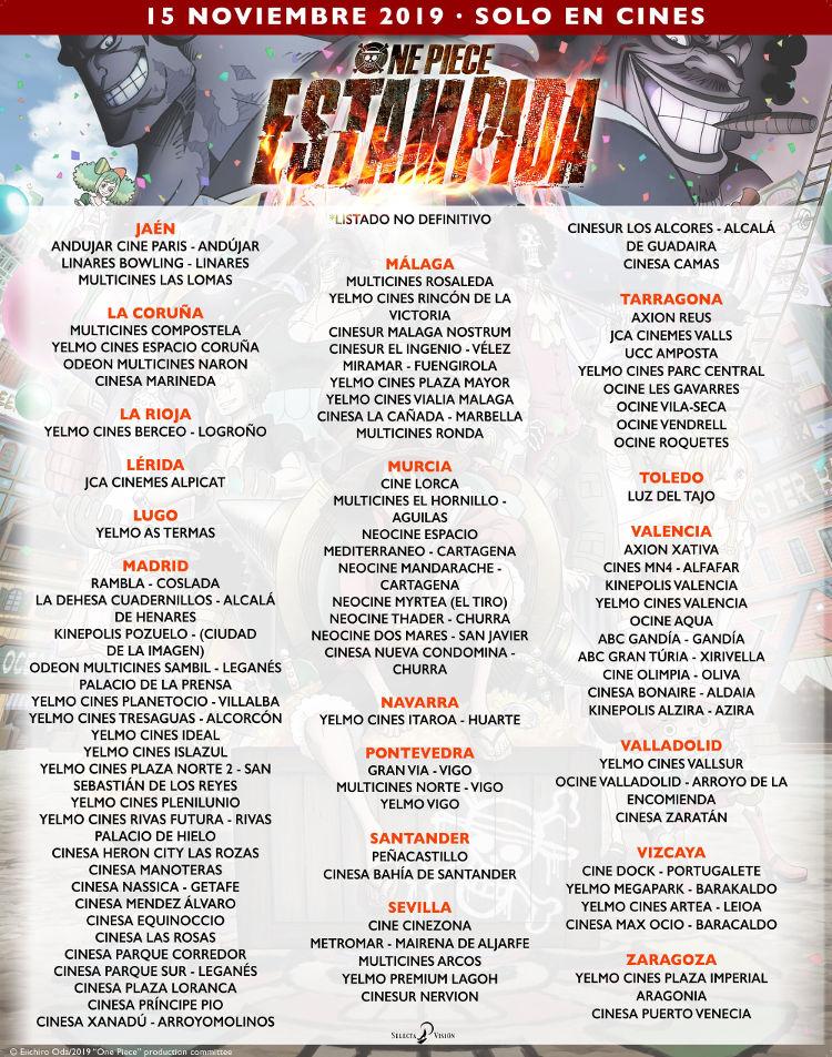donde ver One Piece Stampede en España cines confirmados 2 - El Palomitrón