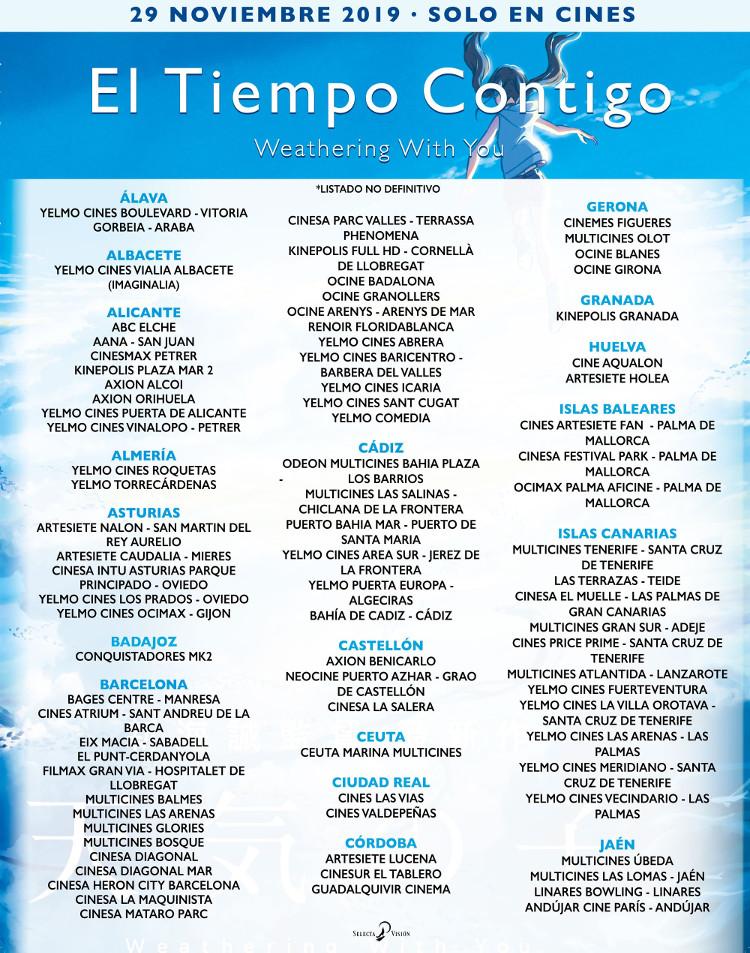 donde ver Weathering With You en España cines provisionales 27 nov 1 - El Palomitrón