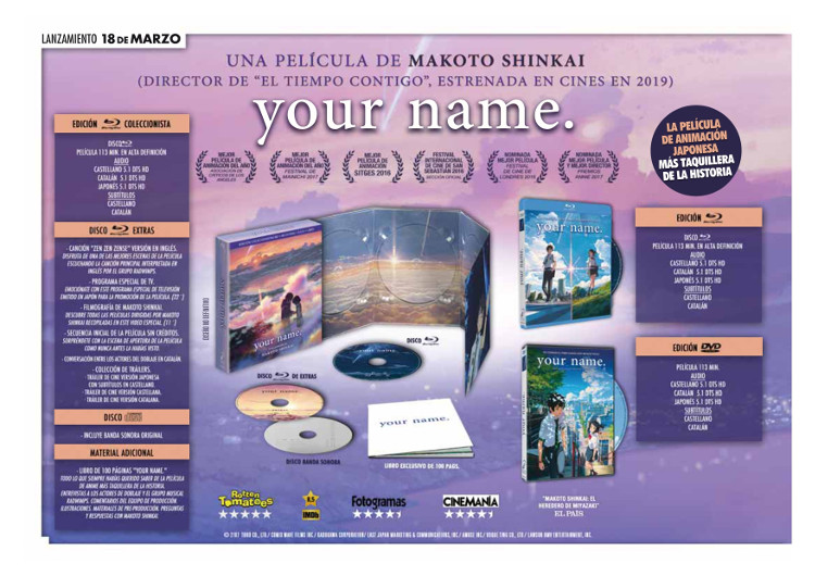 Lanzamientos Selecta Visión marzo 2020 Your name - El Palomitrón