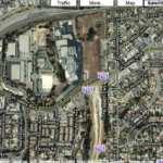 Terminación de la autopista 710 en el bulevar Valley en Alhambra vista de Google Maps.