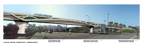 Dibujo arquitectónico del puente Lassen Street en la Línea Naranja dirigiéndose  hacia la estación Chatsworth Amtrak/Metrolink.