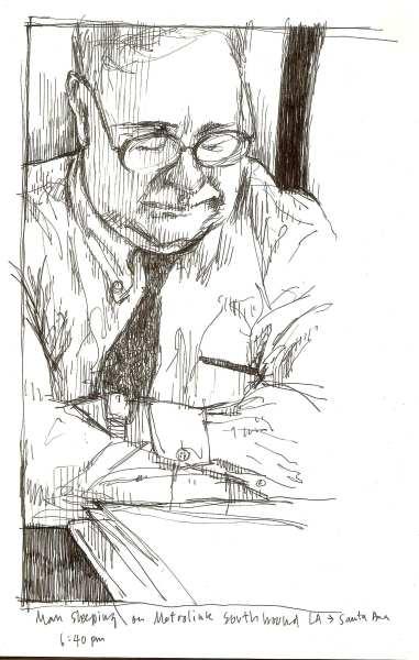Hombre durmiendo en Metrolink, dirección sur de L.A. a Santa Ana. hora 6:40 p.m.