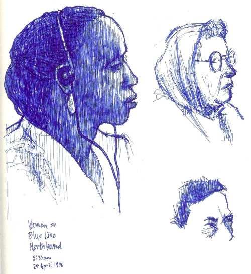 Mujer en la Línea Azul, dirección norte, 8:20 a.m. del 24 de Abril de 1996.