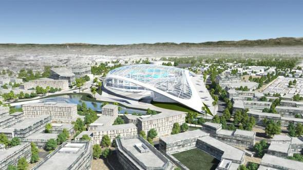 Ilustración de un posible estadio en Inglewood.