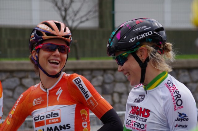 Sharing the fun with Tiffany Cromwell before the last stage of this year's Emakumeen Bira