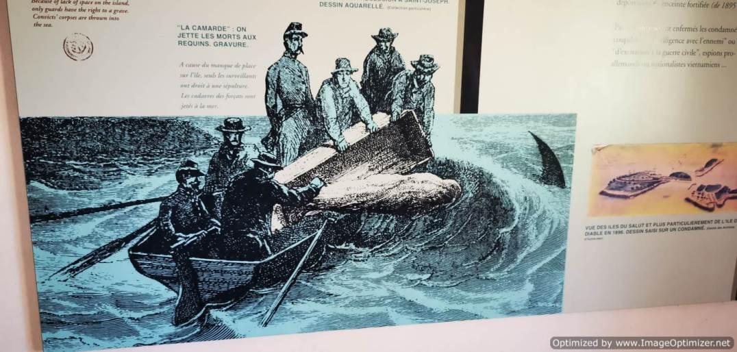 grabado que cuenta lo de los muertos y los tiburones