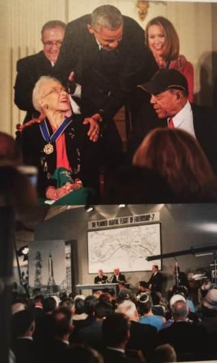 """Obama entregando una medalla a Katerine Jhonson, una de las """" figuras Ocultas"""""""