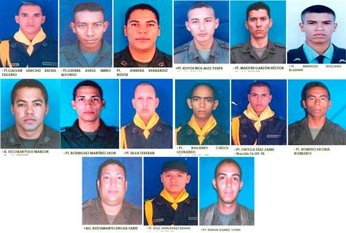 Uniformados víctimas en el atentado de la guerrilla.
