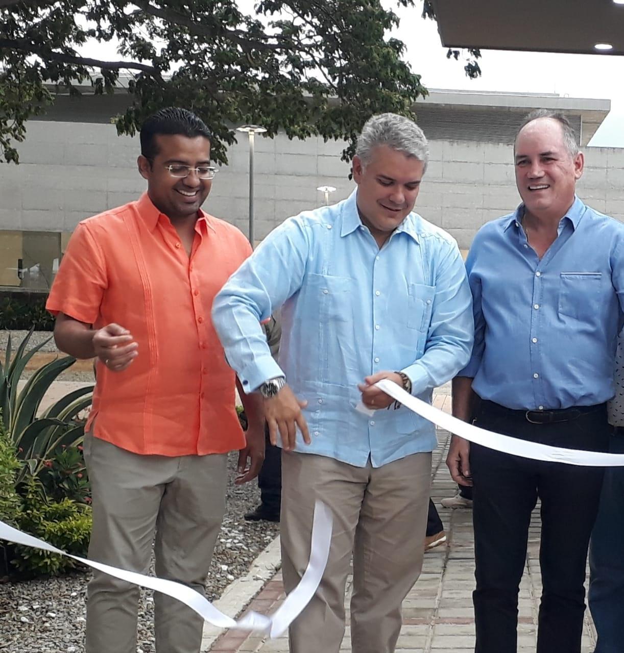 El presidente Iván Duque, el alcalde Augusto Ramírez y el gobernador Franco Ovalle inauguraron la tercera fase del CDT Ganadero.  CORTESÍA.