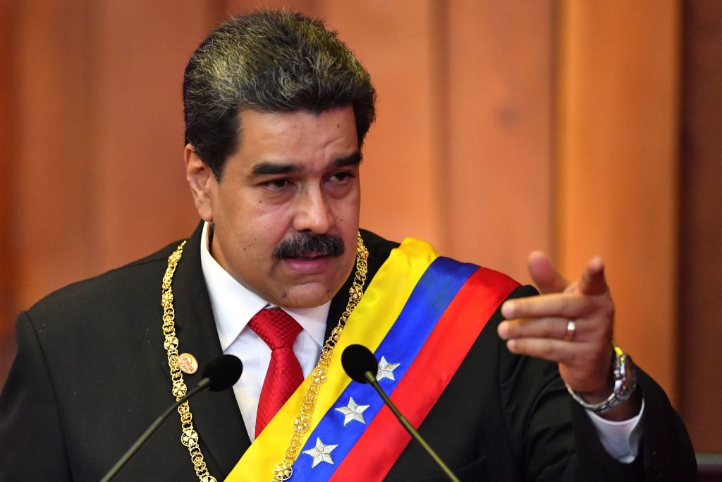 Venezuela's President Nicolas Maduro delivers a speech after being sworn-in for his second mandate, at the Supreme Court of Justice (TSJ) in Caracas on January 10, 2019. - Maduro begins a new term that critics dismiss as illegitimate, with the economy in free fall and the country more isolated than ever. (Photo by Yuri CORTEZ / AFP)        (Photo credit should read YURI CORTEZ/AFP via Getty Images)