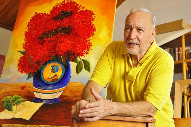 Efraín 'El Mono' Quintero en su taller de pintura en casa.  FOTO/JOAQUÍN RAMÍREZ. FOTO/JOAQUÍN RAMÍREZ.